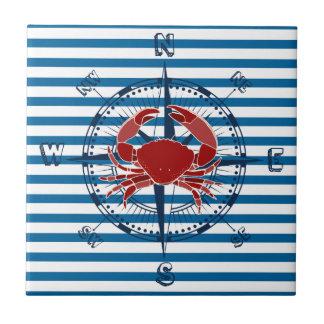 Carreau Tuile bleue et blanche de boussole et de crabe de