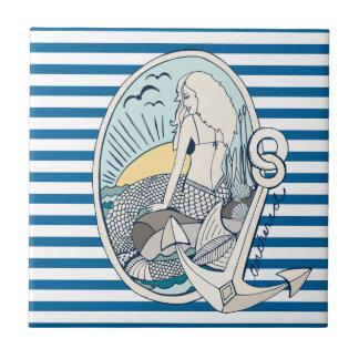 Carreau Tuile bleue et blanche de sirène et d'ancre de