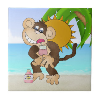 Carreau Tuile d'amusement de bande dessinée de singe de