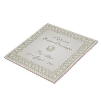Carreau Tuile d'anniversaire de mariage de perle de satin