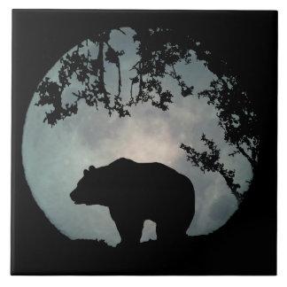 Carreau Tuile d'art de pleine lune d'ours