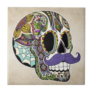 Carreau Tuile de crâne de sucre de moustache (couleur)