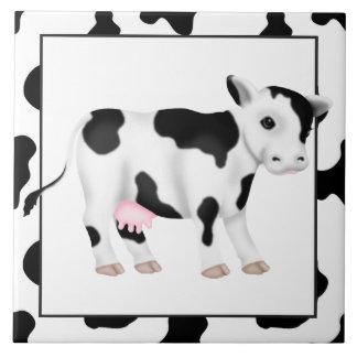 Carreau Tuile de cuisine de bande dessinée de vache à pays