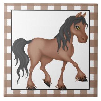 Carreau Tuile de pays de bande dessinée de cheval de ferme