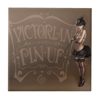 Carreau Tuile de pin-up victorienne de fille
