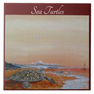 Carreau Tuile de tortue de mer. Les tortues de mer