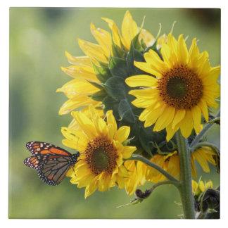 Carreau Tuile de tournesols de jaune de papillon de