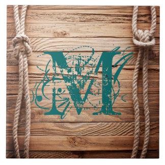 Carreau Tuile en bois rustique d'affichage de monogramme