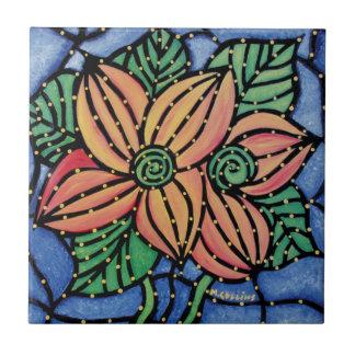 Carreau Tuile en céramique d'art de fleur abstraite coloré