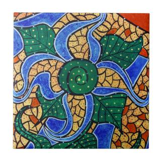 Carreau Tuile en céramique d'art de fleur bleue abstraite