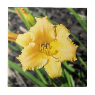 Carreau Tuile en céramique de photo de lis jaune
