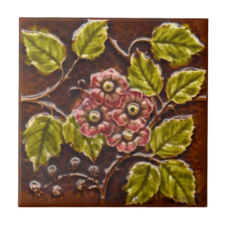 Carreau Tuile florale Repro de majolique victorienne