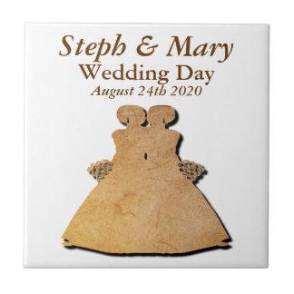 Carreau Tuile gaie rustique de cadeau de mariage pour les