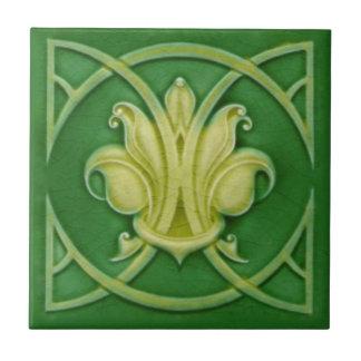 Carreau Tuile gothique de Nouveau Green Fleur de Lis Repro