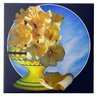 Carreau Tuile jaune de vase à jaune de bouquet