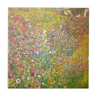 Carreau Tuile rose de fleurs de Gustav Klimt