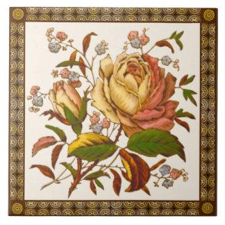 Carreau Tuile rose victorienne antique Repro de