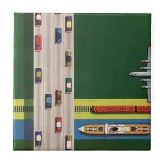 Carreau Tuile vintage de modes de transport de logistique
