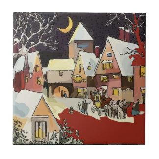 Carreau Tuiles vintages de neige de Noël