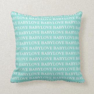 Carreau turquoise de bébé d'amour de bébé bleu de oreiller