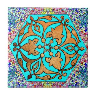 Carreau Turquoise d'étoile de David florale