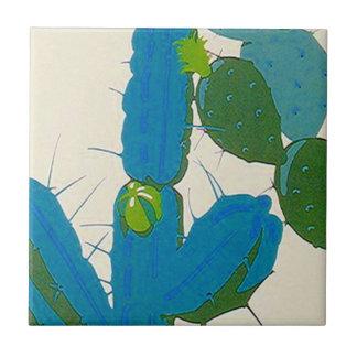 Carreau Turquoise vintage de fleur de cactus de désert de