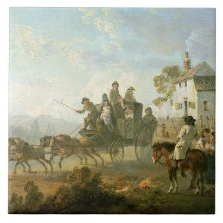 Carreau Un car d'étape sur une route de campagne, 1792
