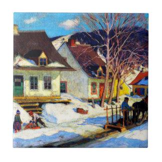Carreau Une rue de village du Québec - illustration de