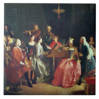 Carreau Une soirée musicale (huile sur la toile)