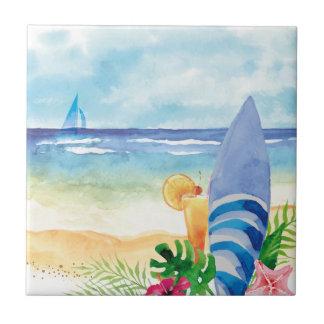 Carreau Vacances de surf d'Hawaï - art d'aquarelle