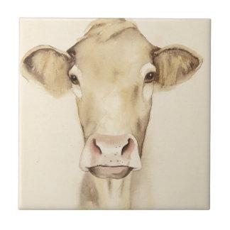 Carreau Vache aux animaux   de grange d'aquarelle