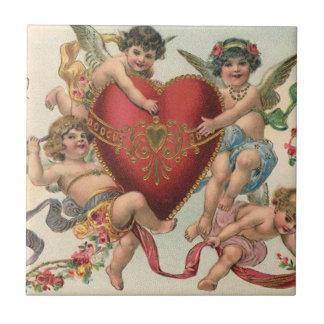 Carreau Valentines victoriens vintages, coeur d'anges