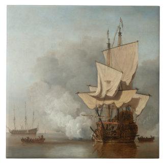 Carreau Velde de paysage marin de beaux-arts