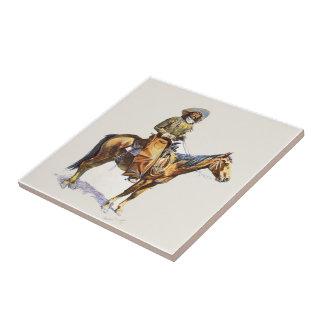 Carreau Vieux cowboy occidental sur le cheval