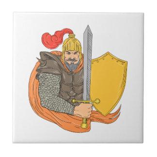 Carreau Vieux dessin de bouclier d'épée de chevalier