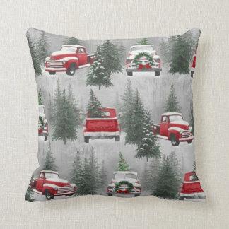 CARREAU vintage de scène de Noël de camion Coussin