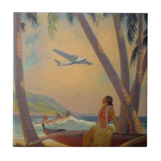 Carreau Voyage hawaïen vintage - danseuse de fille d'Hawaï