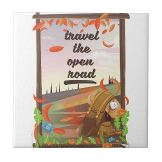Carreau Voyagent l'affiche vintage de randonnée de route