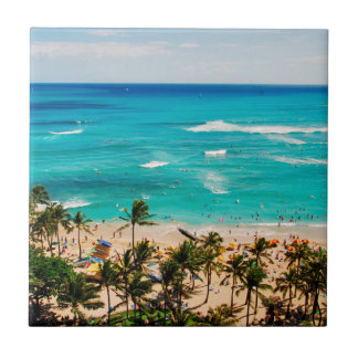 Carreau Vue élevée de scène de plage de Waikiki, Honolulu