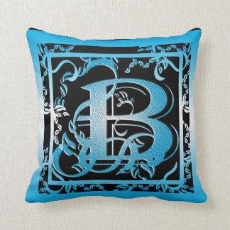 Carreaux bleus et noirs du monogramme B MoJo Oreiller