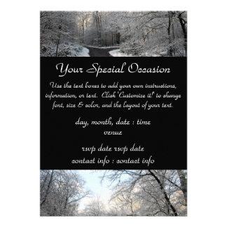 Carrefours de forêt d hiver carton d'invitation