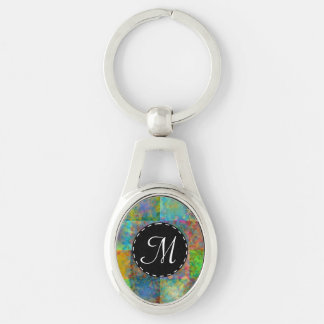 Carrés abstraits colorés porte-clé ovale argenté