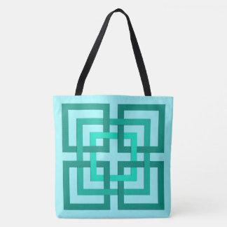 Carrés, Aqua et turquoise géométriques modernes Sac