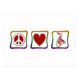 Carrés d'arc-en-ciel de saxophone d'amour de paix cartes postales