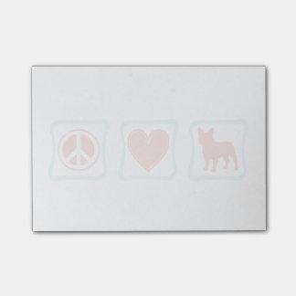 Carrés de bouledogues français d'amour de paix
