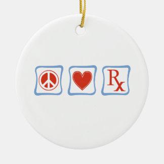 Carrés de pharmacien d'amour de paix ornement rond en céramique
