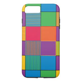 Carrés et rayures brillamment colorés coque iPhone 7 plus