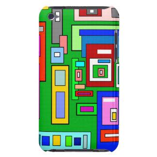Carrés et rectangles multicolores verts coque iPod Case-Mate