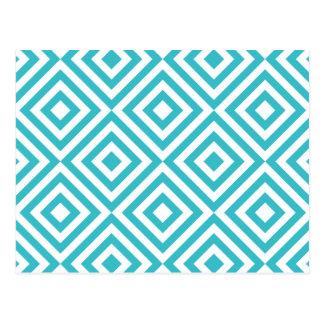 Carrés géométriques abstraits motif, blanc d'aqua cartes postales