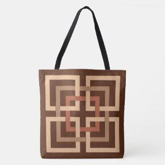 Carrés géométriques modernes, brun chocolat et sac